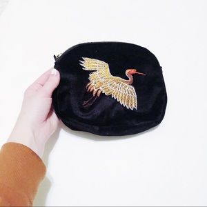 Vintage Embroidered Crane Coin Purse